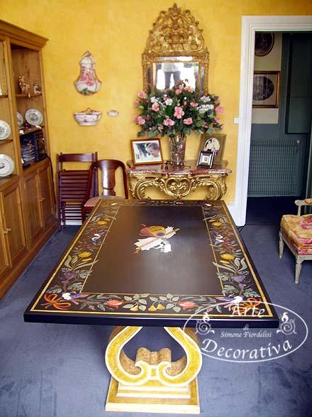 Arte decorativa firenze laboratorio artigiano di tavoli for Tavoli di design in marmo